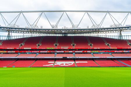 London, United Kingdom - AUG 31,2019: A picture of empty Emirates Stadium during weekend which open for tourist to visit. Its a home for Arsenal Football Club.