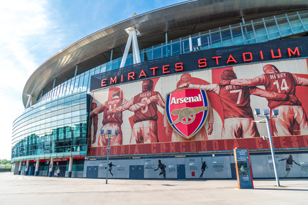 LONDON, UNITED KINGDOM - 31 AUG 2019: Outside view of Emirates Stadium,the home ground for Arsenal Football Club. Redactioneel