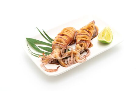 grilled squid with teriyaki sauce isolated on white background Stock fotó
