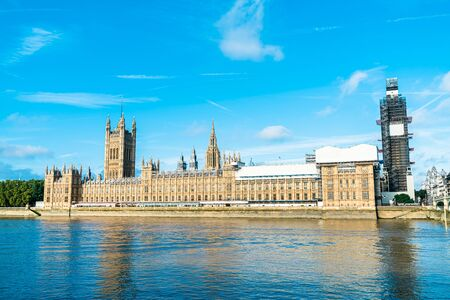 Big Ben and Westminster Bridge with River Thames in London, UK Stock fotó
