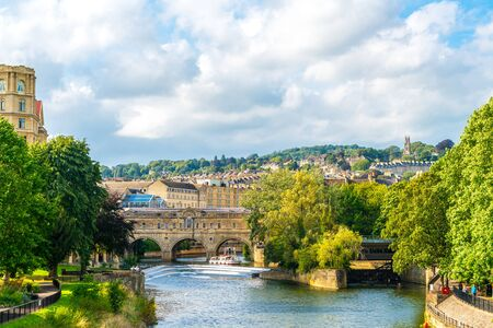 View of the Pulteney Bridge River Avon in Bath, England, United Kingdom.