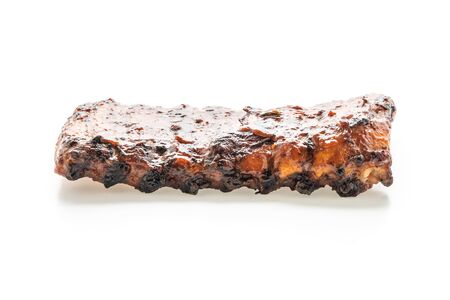 grilled and barbecue ribs pork isolated on white background