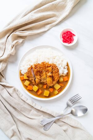 Crispy fried pork cutlet with curry and rice - Japanese food style