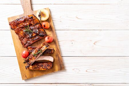 grilled and barbecue ribs pork Stock Photo