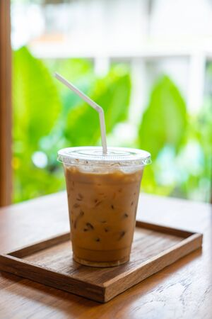 iced coffee cup in cafe restaurant