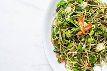 Fried Sunflower Sprout with Oyster Sauce - healthy food style Stok Fotoğraf