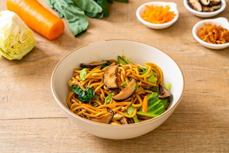 yakisoba noodles stir-fried with vegetable - vegan and vegetarian food