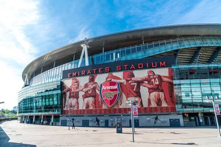 LONDON, UNITED KINGDOM - 31 AUG 2019: Outside view of Emirates Stadium,the home ground for Arsenal Football Club. 免版税图像