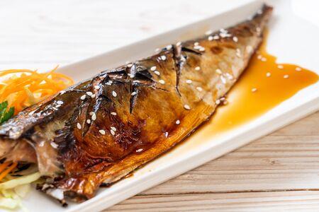 Grilled Saba fish steak with teriyaki sauce - Japanese food style Reklamní fotografie