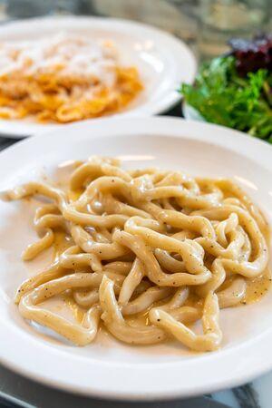 pici pasta with marjoram, lemon, garlic and parmesan cheese- Italian food style Zdjęcie Seryjne