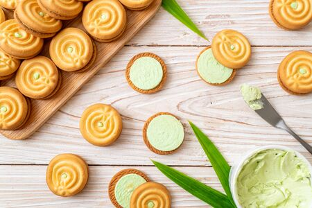 cookies with pandan and milk cream Stock Photo