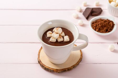 hot chocolate with marshmallows in cup