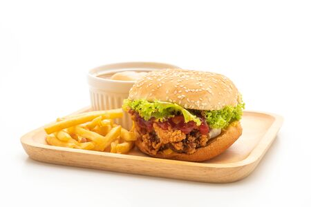 fried chicken burger isolated on white background - unhealthy food style