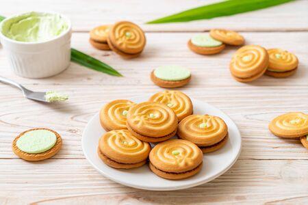 cookies with pandan and milk cream Stock Photo - 132751903