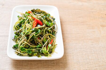 Fried Sunflower Sprout with Oyster Sauce - healthy food style Reklamní fotografie