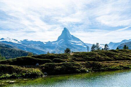 Matterhorn with Leisee Lake in Zermatt, Switzerland