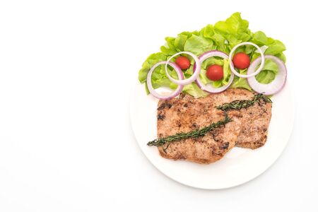 grilled pork steak with vegetable isolated on white background