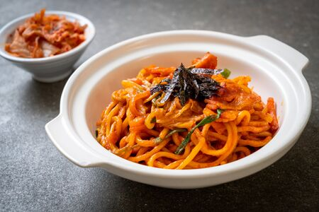stir-fried noodles with Korean spicy sauce and vegetable - Korean Food Style Stok Fotoğraf