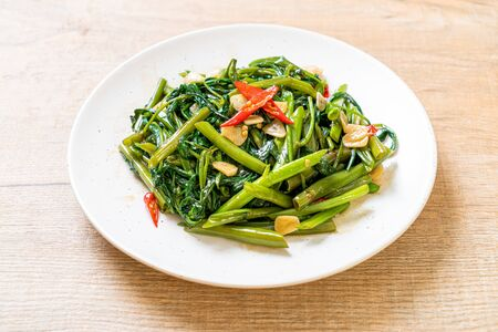 Stir-Fried Chinese Morning Glory or Water Spinach - Asian food style