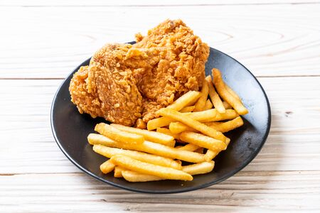 fried chicken with french fries and nuggets meal - junk food and unhealthy food Imagens