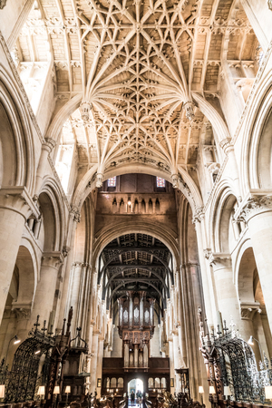 OXFORD, UK - AUG 29, 2019 : Interior of University Church of St Mary the Virgin. It is the largest of Oxfords parish churches and the centre, Oxford, UK.