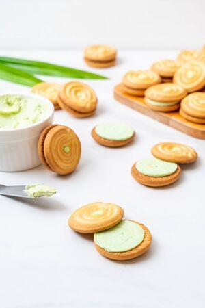cookies with pandan and milk cream Stock Photo - 134088213