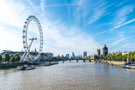 Big Ben and Westminster Bridge with River Thames in London, UK Editorial