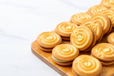 cookies with pandan and milk cream Stock Photo - 135232298