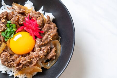 beef sliced on topped rice with egg (GYUDON) - Japanese food style Foto de archivo - 135502288