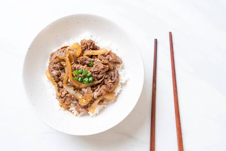 beef sliced on topped rice (GYUDON) - Japanese food style Foto de archivo - 135502538