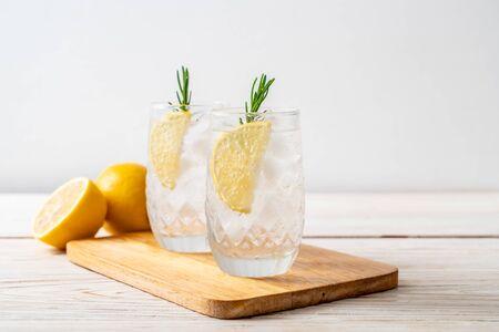 ice lemonade soda on wood background Archivio Fotografico
