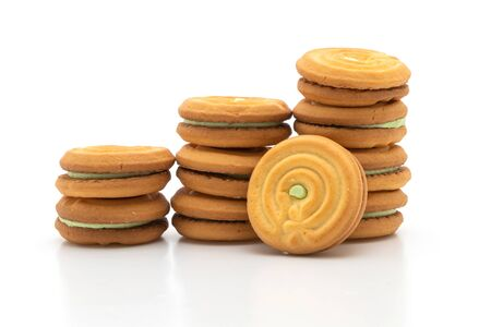 cookies with pandan cream isolated on white background Stock Photo