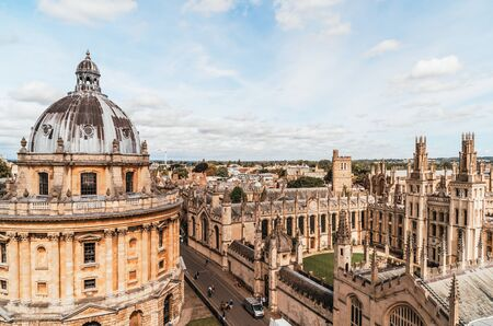 Radcliffe Camera and All Souls College at the university of Oxford. Oxford, United Kingdom. Stock Photo