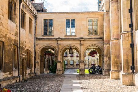 Beautiful Architecture Entrance of Peterhouse, a college of Cambridge University, England Stock Photo