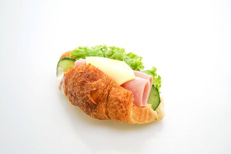 sandwich croissant ham cheese with mayonnaise isolated on white background Foto de archivo - 137864365
