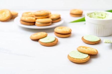 cookies with pandan and milk cream Stock Photo