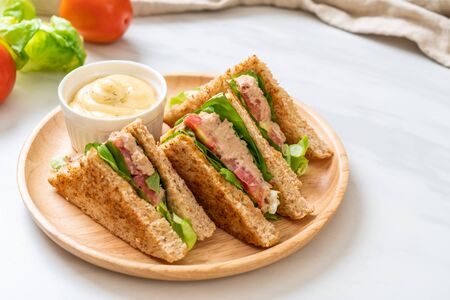 Homemade Tuna Sandwich with Tomatoes and Lettuce