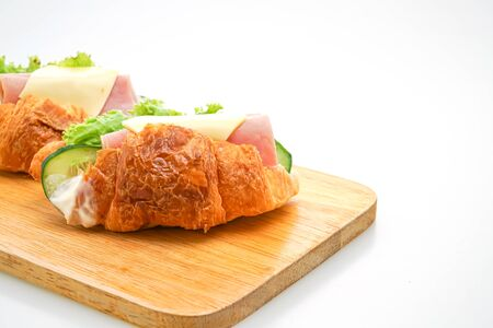 sandwich croissant ham cheese with 