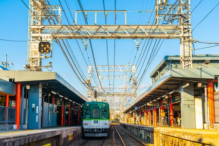 Kyoto, Japan, 11 Jan 2020 : Japanese railway with a local train run through with Kyoto City.