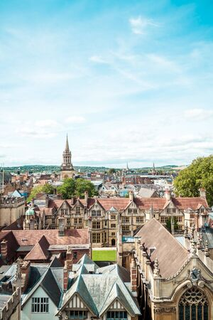 High angle view of High Street of Oxford City, United Kingdom.