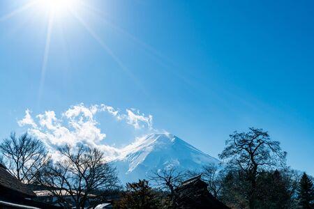 Fuji Mountain with blue sky in Japan 版權商用圖片