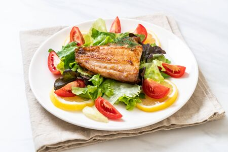 grilled snapper fish steak with vagetable