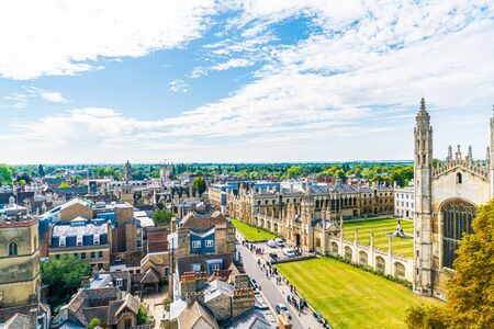 High angle view of the city of Cambridge, United Kingdom. 版權商用圖片 - 138238745