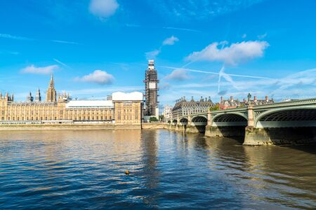 Big Ben and Westminster Bridge with River Thames in London, UK Stock Photo