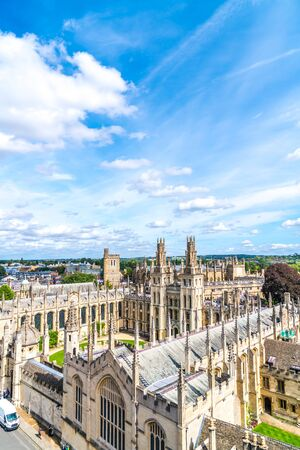 High angle view of High Street of Oxford City, United Kingdom. Stock Photo