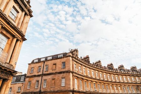 The Circus - the iconic British style architecture buildings.The historic street of large townhouses in the city of Bath, United Kingdom.