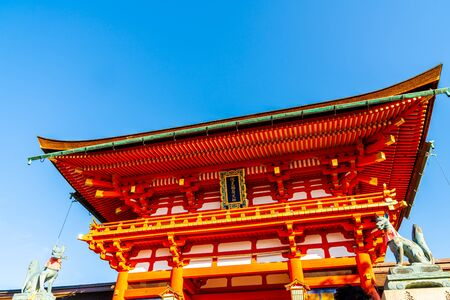 Beautiful architecture at Fushimi Inari Shrine Temple in Kyoto, Japan.