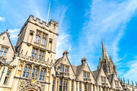Beautiful Architecture at University Church of St Mary the Virgin in Oxford, United Kingdom. Editorial