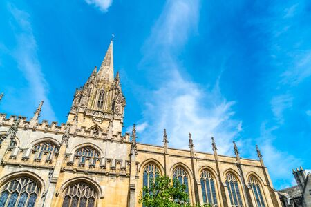 Beautiful Architecture at University Church of St Mary the Virgin in Oxford, United Kingdom. Stock Photo