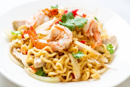 spicy instant noodles salad with shrimps - Thai food style